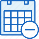 calendar, office, remove, work icon