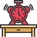 alarm, desk, office, table, time icon