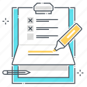 clipper, marker, paper binder, pen, survey, to do list icon