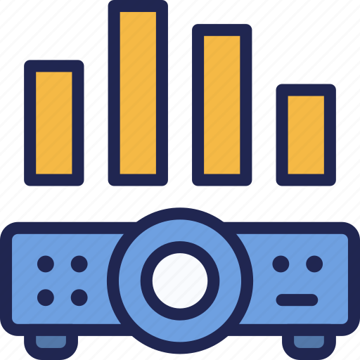 chart, device, graph, presentation, projector, video icon