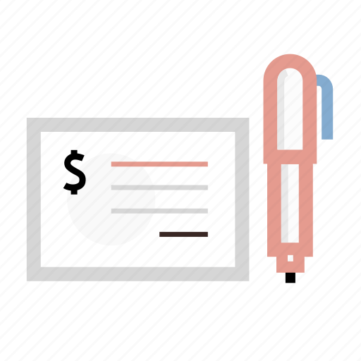 business, check, office, pen, receipt icon