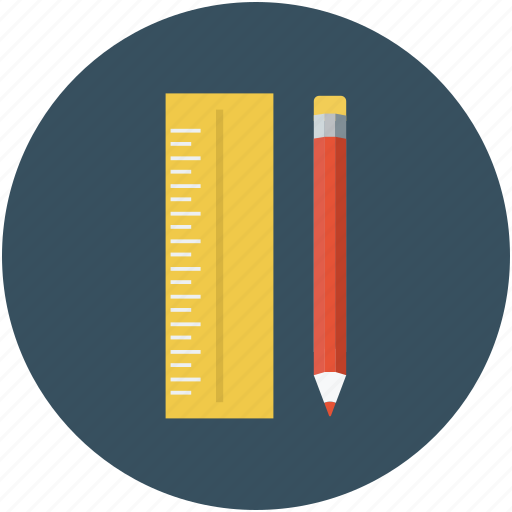 drawing utensils, office supplies, pencil, ruler icon