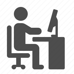 chair, cubicle, desk, job, man, monitor, office, working icon