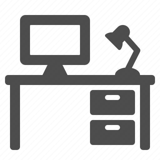 computer, cubicle, desk, drawers, lamp, office icon