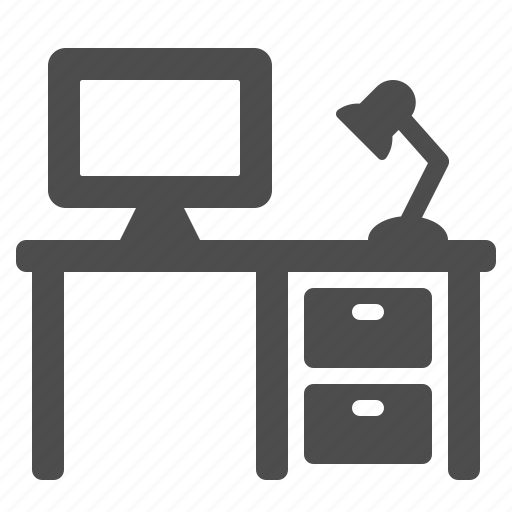 computer, cubicle, desk, lamp, office icon