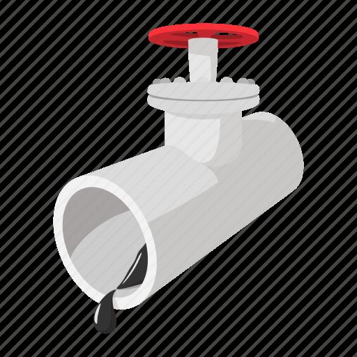 cartoon, drop, fuel, oil, pipeline, pressure, stopcock icon