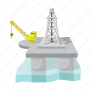 cartoon, derrick, gas, oil, platform, rig, sea icon