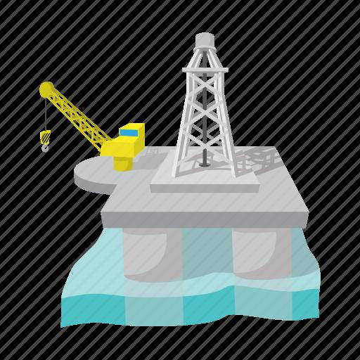 cartoon, derrick, gas, oil, platform, rig, sea icon