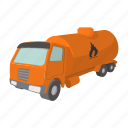 cartoon, fuel, oil, orange, petrol, tank, truck icon