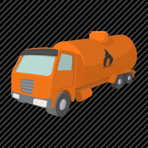 cartoon, fuel, oil, orange, petrol, tank, truck icon
