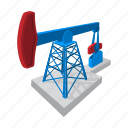 blue, cartoon, extraction, fuel, jack, oil, pump icon