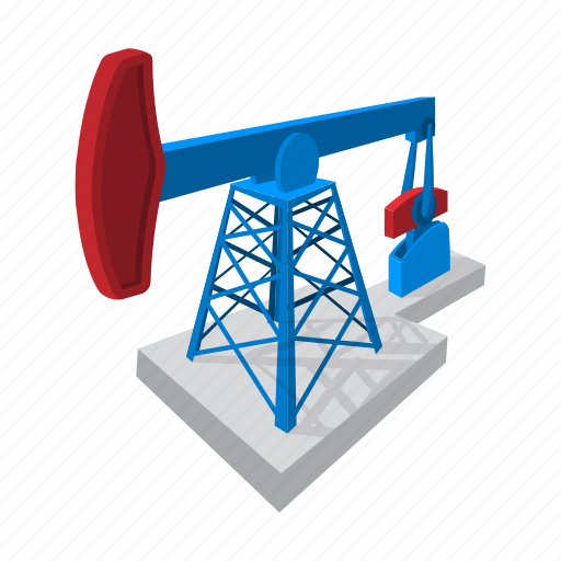 blue, cartoon, extraction, fuel, jack, oil, pump icon
