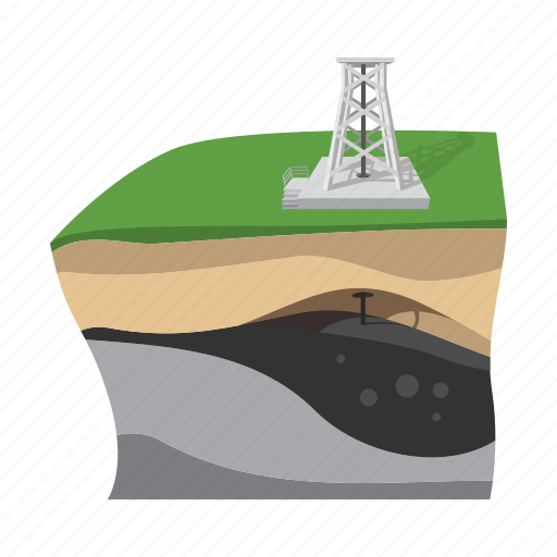 cartoon, extraction, gas, industry, oil, scheme, technology icon