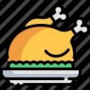 roast chicken, chicken, meal, meat, chicken leg