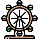 amusement park, big wheel, ferris wheel, funfair, holiday icon