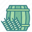alcohol, barrel, beer, beverages, cask, pub, wheat icon