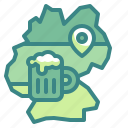alcoholic, beer, beverages, germany, map, placeholder, traditional icon