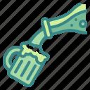 alcohol, beer, beverage, bottle, glass, mug, pouring icon