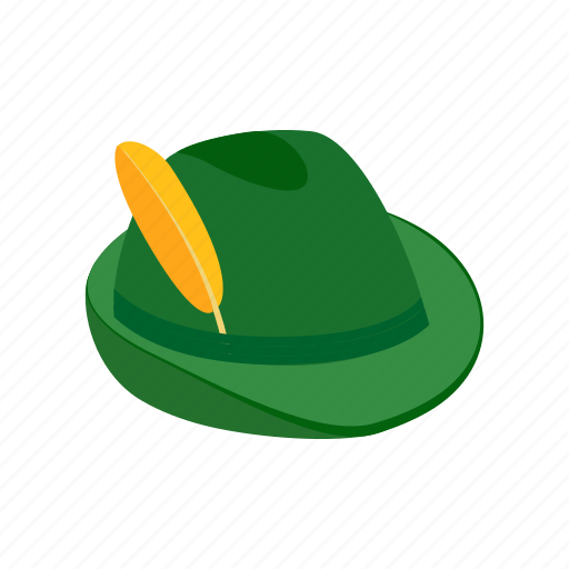 dress, feather, green, hat, isometric, old, traditional icon
