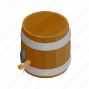 alcohol, barrel, beer, container, drink, isometric, storage icon