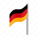 country, flag, germany, isometric, national, patriotism, red icon