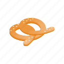 food, german, isometric, oktoberfest, pretzel, salt, salty icon