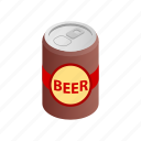 aluminum, beverage, can, cold, isometric, liquid, metal icon