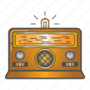 colored, equipment, old, radio icon