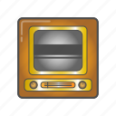 colored, equipment, old, tv icon