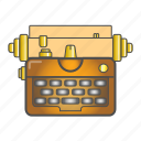 colored, equipment, old, typewriter icon