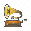 colored, equipment, gramophone, old icon