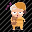 avatar, bedtime, emoji, emoticon, man, old, sticker icon