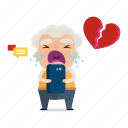 avatar, broken, emoji, emoticon, heart, old, sticker icon