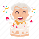 avatar, celebration, emoji, emoticon, man, old, sticker icon