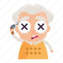 avatar, dead, emoji, emoticon, man, old, sticker