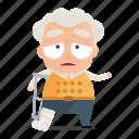 avatar, emoji, emoticon, injured, man, old, sticker icon