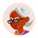 aged, avatar, expression, grandmother, hindu, indian, old icon