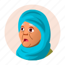 arab, avatar, expression, grandmother, old, people, woman icon