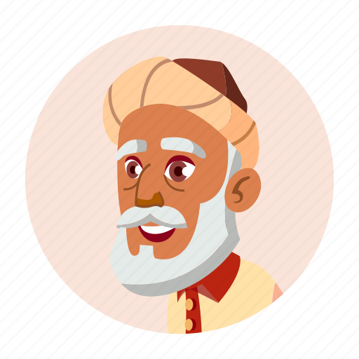 arab, avatar, emotion, grandfather, man, old, people icon