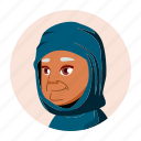 arab, avatar, expression, grandmother, old, people, woman
