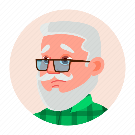avatar, emotion, face, grandfather, man, old icon