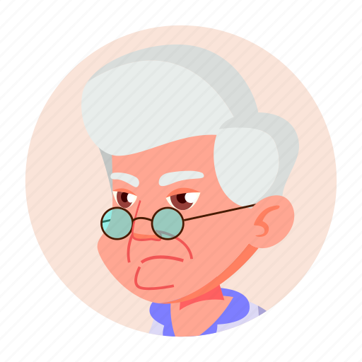 aged, avatar, emotion, expression, face, grandmother, old icon