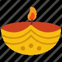 clay lamp, diya, festive lamp, lighting, oil lamp icon