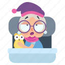 bedtime, emoji, emoticon, old, sticker, woman icon