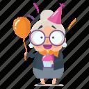 birthday, celebration, emoji, emoticon, old, sticker, woman
