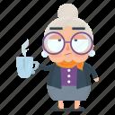 coffee, emoji, emoticon, old, sticker, woman
