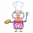 cooking, emoji, emoticon, old, sticker, woman
