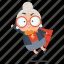 emoji, emoticon, hero, old, sticker, woman
