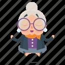 emoji, emoticon, meditation, old, sticker, woman