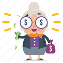 emoji, emoticon, money, old, sticker, woman